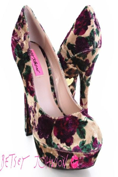 Purple Multi Velvet Floral Print Platform Pump Heels / Sexy Clubwear | Party Dresses | Sexy Shoes | Womens Shoes and Clothing | AMI CLubwear