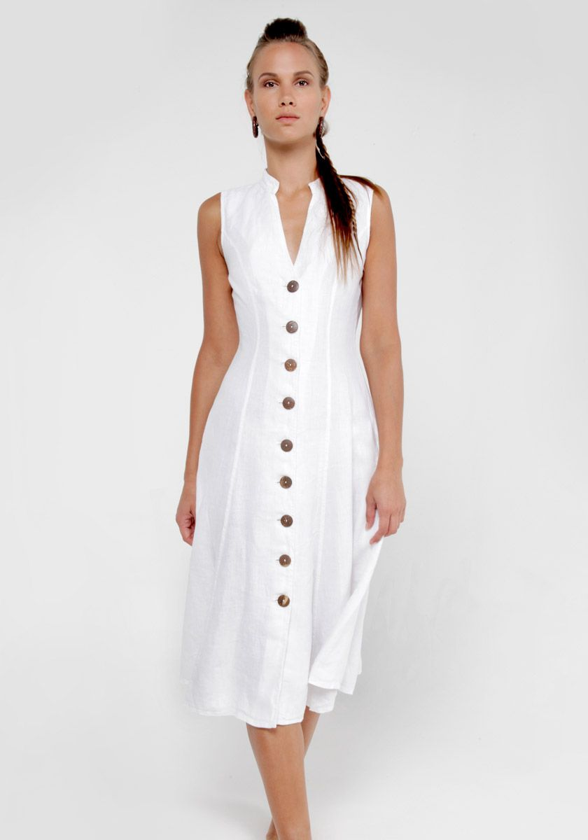 74cab34f8c 100% Linen Dress with Coconut Buttons and Moa Collar in White