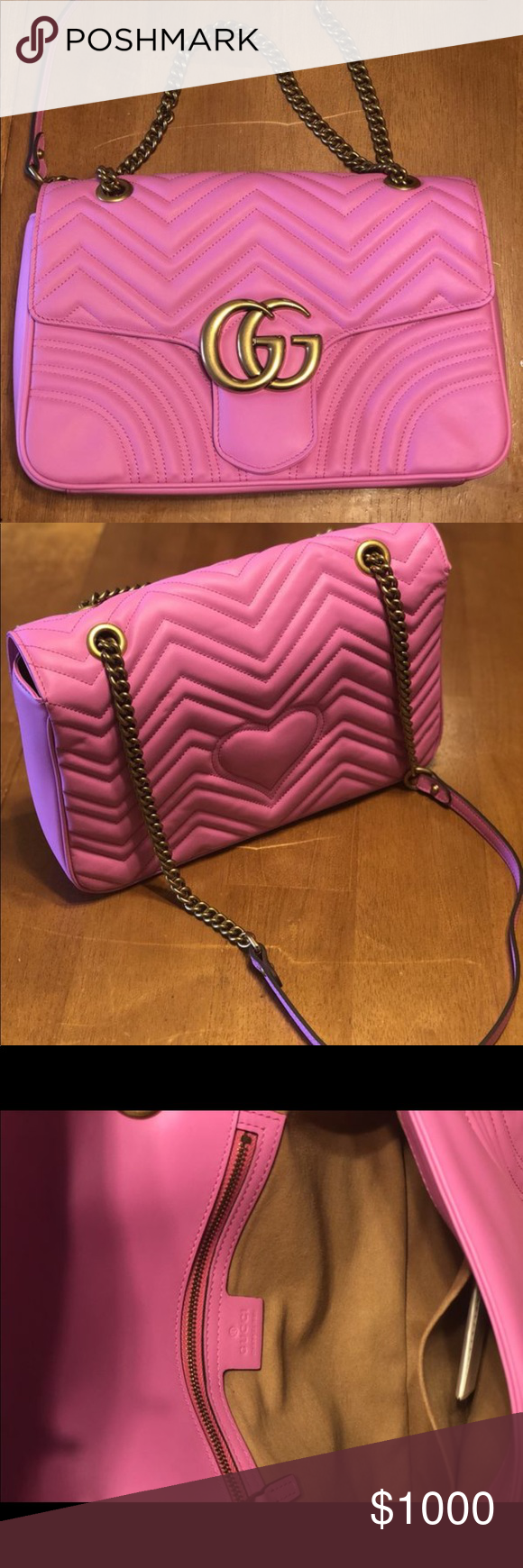 e80952e0b757 Pink Gucci Marmont Purse Gucci Calfskin Matelasse Medium GG Marmont  Shoulder Bag Candy Pink💕 - Great Condition! - Used a limited amount of  times Length: ...