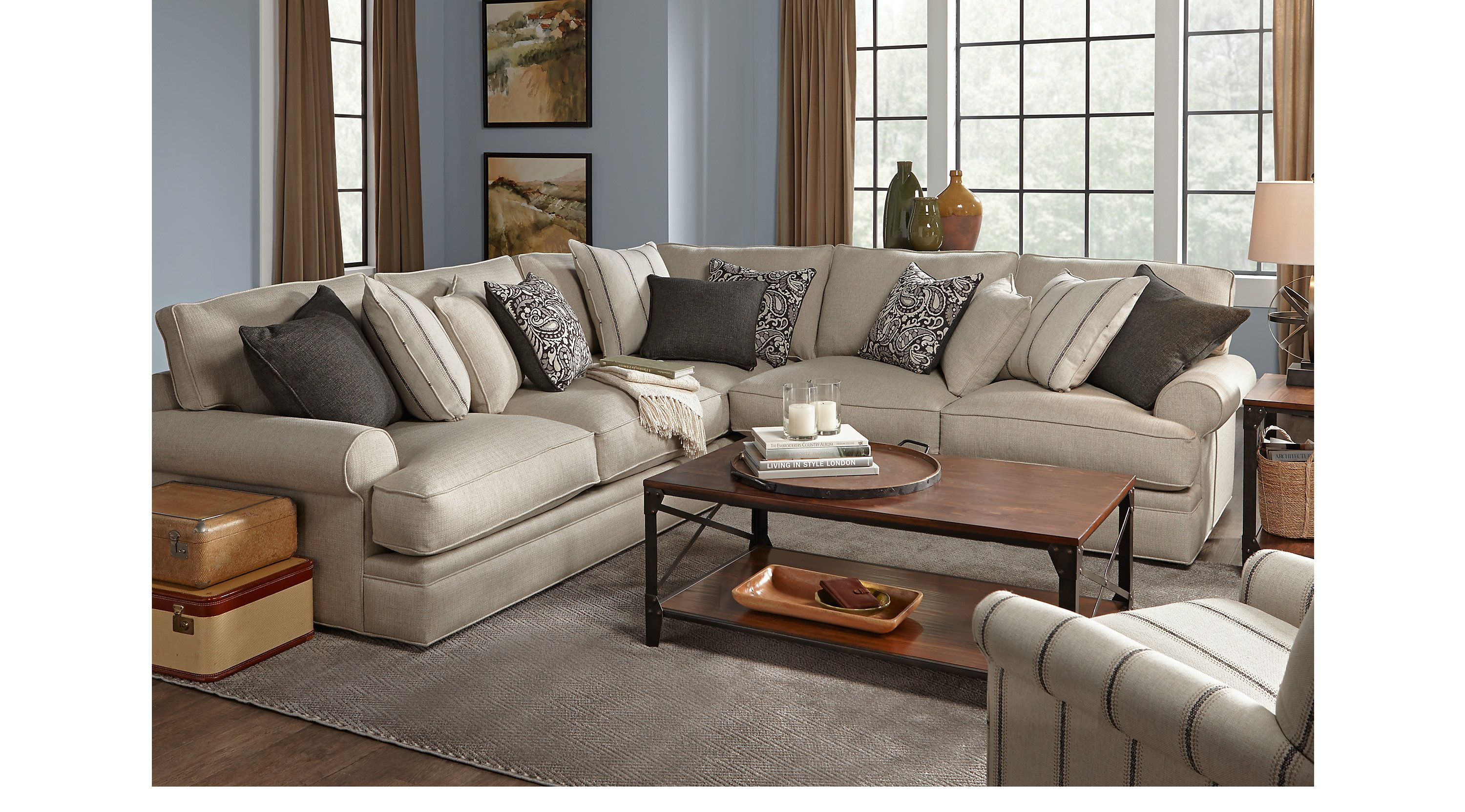 2 388 00 Lincoln Square Beige 6 Pc Sectional Living Room Contemporary Textured Living Room Sectional Living Room Sets Rooms To Go Furniture