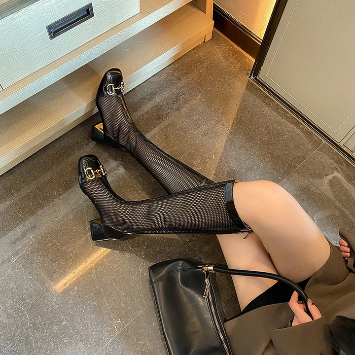Aleena Mid Chunky Heeled Mesh Knee High Boots in 2021