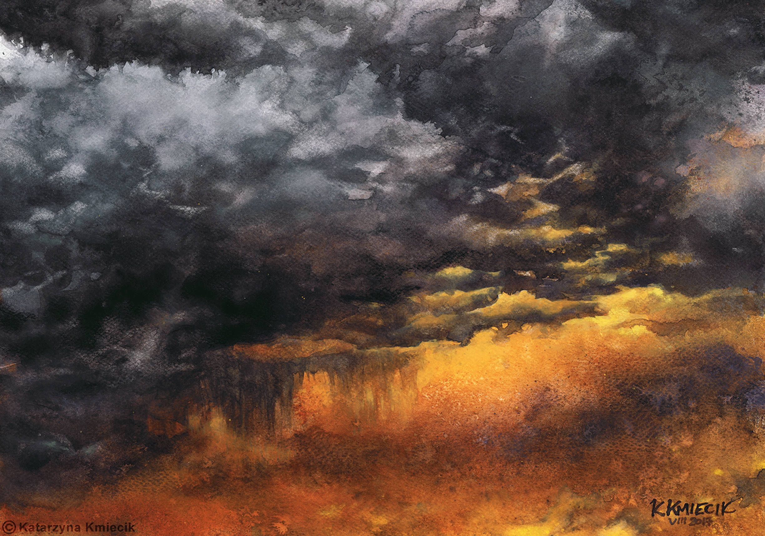 Sky No 6 Watercolor Painting Of Dramatic Storm Sky By