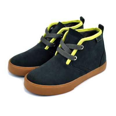 """Desert Boot"" Charcoal/Lime"