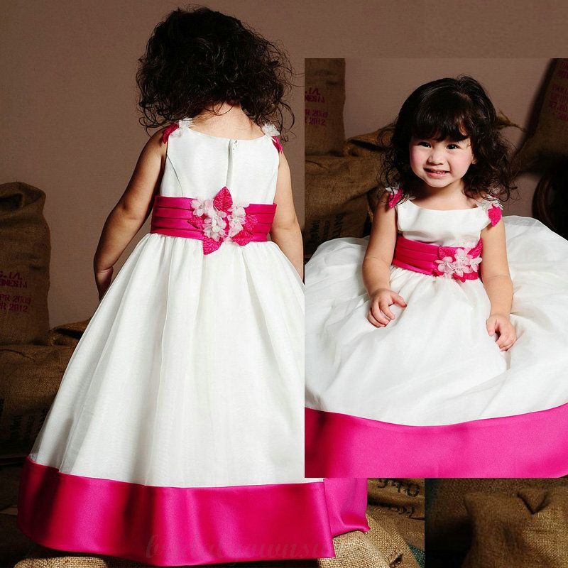 black pink white flower girl dresses | ... Floral Appliques with ...