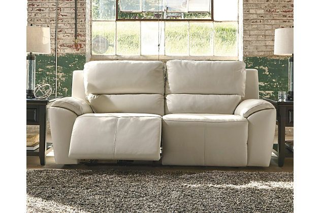 Cream Valeton Power Reclining Sofa View 1 Width 86 Depth