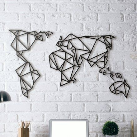 Metal Decor World Map Metal Wall Decor Lovepromo Wall decoration - new black and white world map with continents labeled