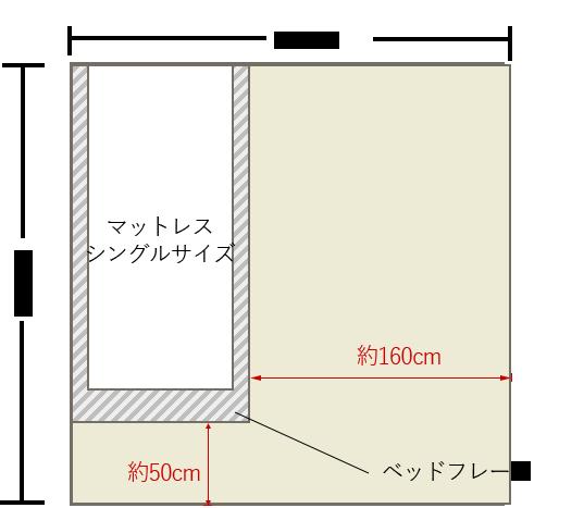 4畳半の寝室にシングルベッドを壁寄せでレイアウト 4畳 レイアウト 4畳半