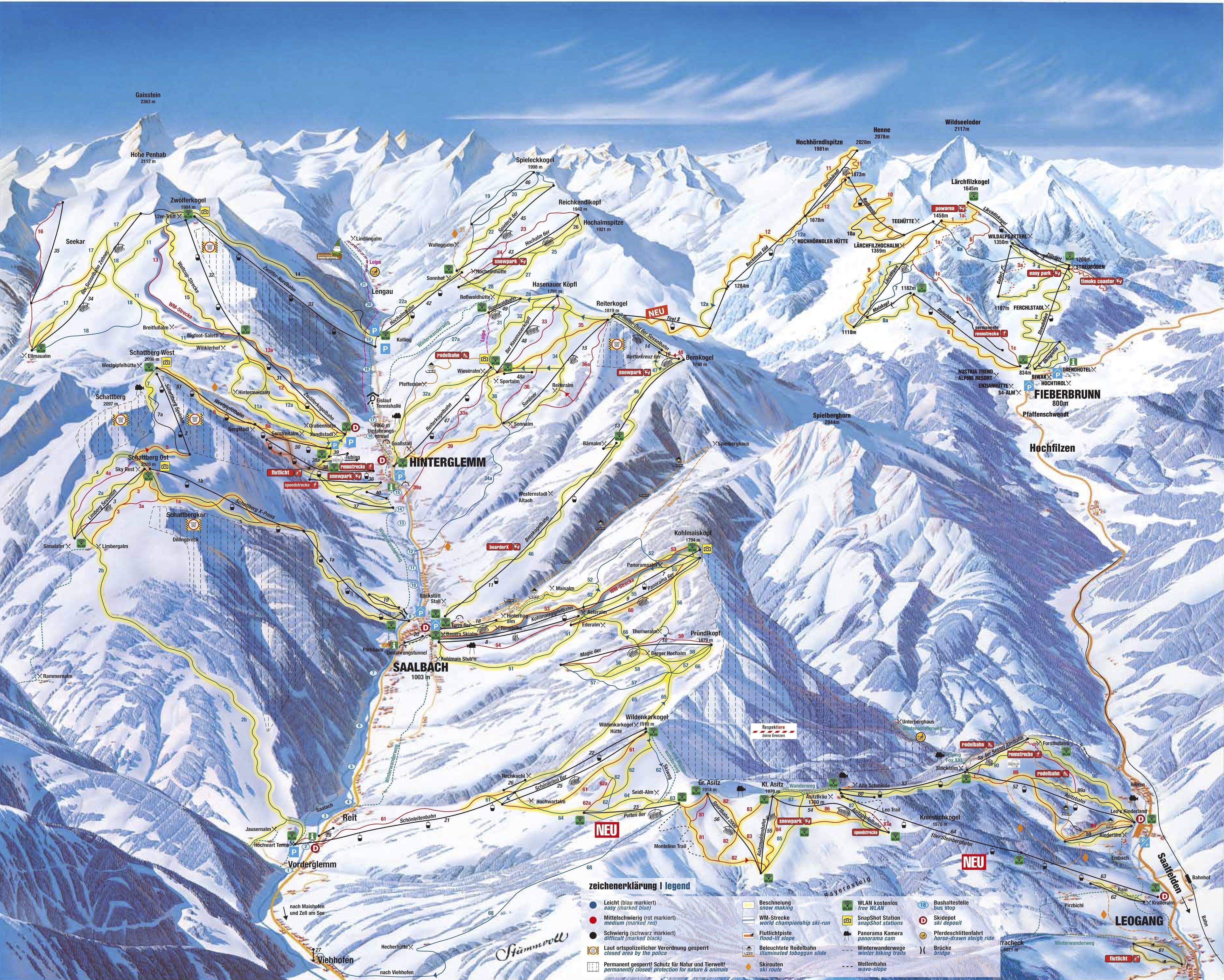 Pistekaart Skicircus Saalbach Hinterglemm Oostenrijk