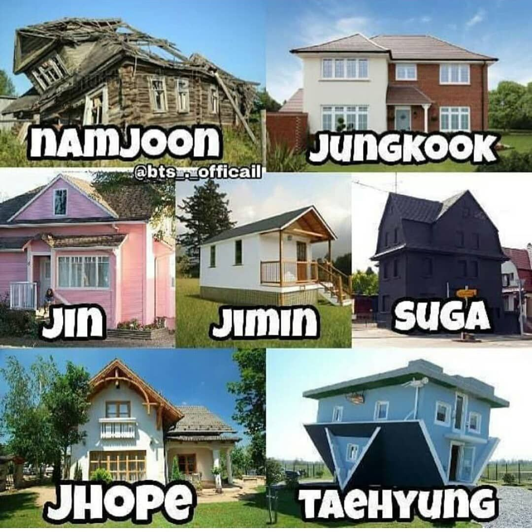 """Latest Funny Images BTS Official on Instagram: """"namjoon and V always make me laugh   - - Follow @btsofficial.ig   Like my other post ❤ - Also follow  @bts.learnkorean  @taeplanet95 - ©tto…"""" Image may contain: house, sky, outdoor and text"""