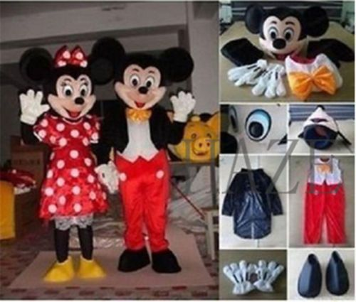 Halloween Adult Mickey/&Minnie Mouse couple Mascot Costume Fancy Dress Party HOT!