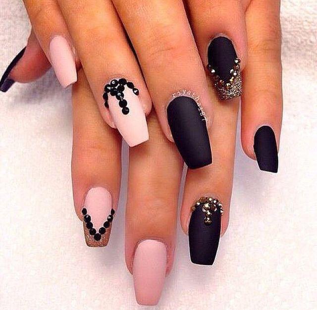 Matte Black And Pink Pink Nails Fashion Nails Black Acrylic Nails