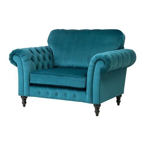 Grevie Armchair Velvet Blue Ikea Velvet Armchair