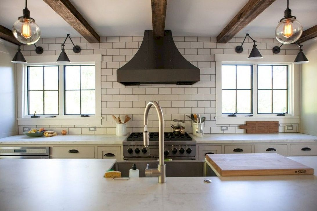 amusing black farmhouse kitchen | 35 Amazing Modern Farmhouse Kitchen Makeover Decor Ideas ...
