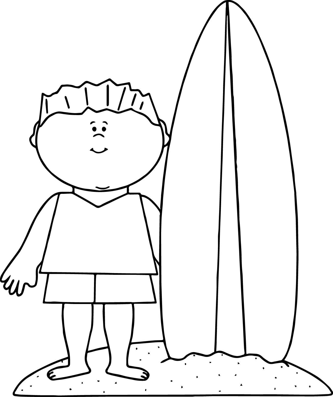 Nice Summer Beach Boy Surfing Coloring Page With Images Santa