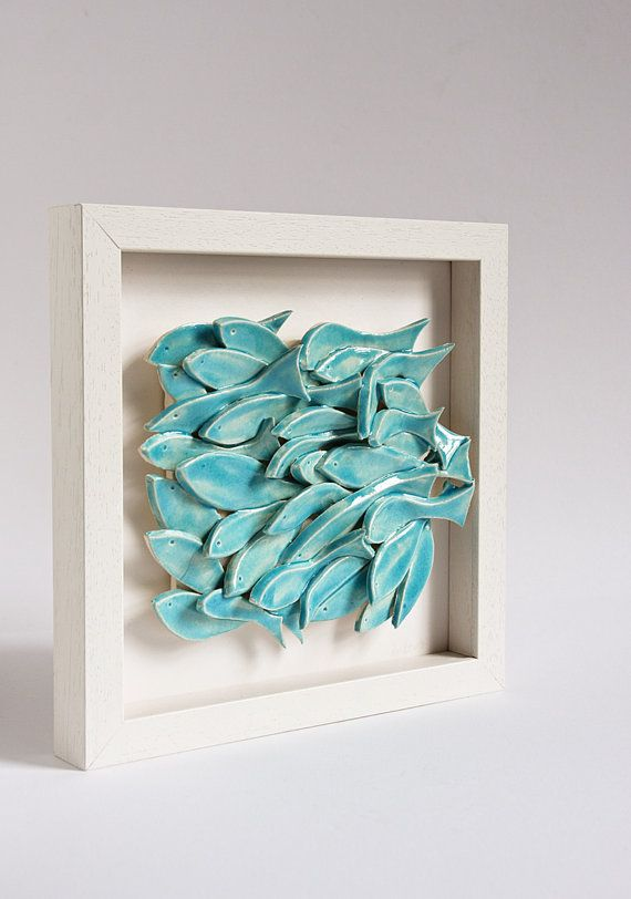 Ceramic wall art fish tile sculptural pottery wall by for Ceramic fish sculpture