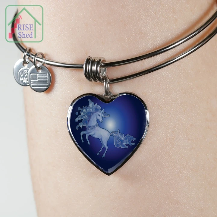 Unicorn Bangle Pendant - Mythical Dancing Unicorn Mysteriously appears at Midnight of Full Moon. #HandmadeBangle Not available in Stores #onlineexclusive #18Kgoldoption #18Kyellowgold #pouredglasspendant #unicornbangle #unicornjewelry #unicornjewellery