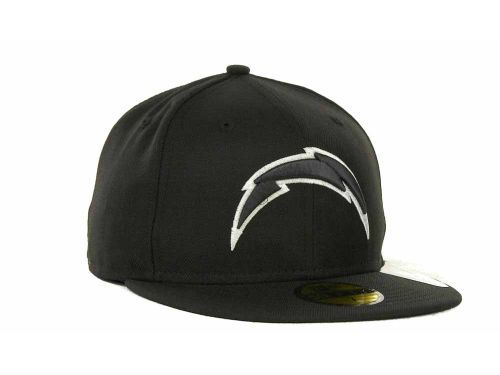 Los Angeles Chargers New Era NFL Black And White 59FIFTY Cap ... af1caa97d75