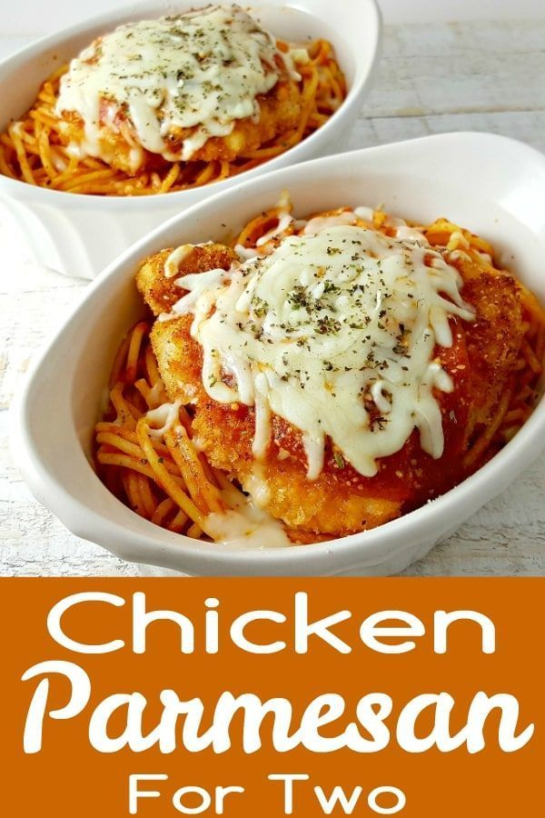 Chicken Parmesan Recipe for Two - is the best recipe, easy and quick too. The chicken is coated in breadcrumbs and Parmesan cheese, then fried crispy and golden brown, served in individual dishes on top of spaghetti and smothered in extra sauce and melted Mozzarella and Parmesan cheese. This is one our all time favorite go-to dinners and is perfect for date night dinner or weekend lunch. #ChickenParmesan #chicken #parmesan #DinnerForTwo #LunchForTwo #RecipesForTwo via @ZonaCooks images