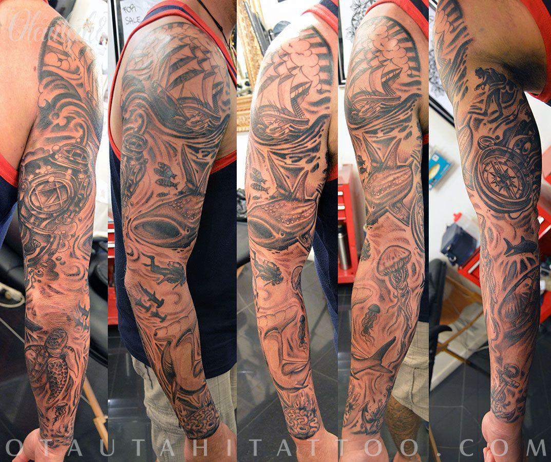 Camo Underwater Sleeve Hammerhead Shark Diver Helmet Mask Turtle Jellyfish Ship Waves Tattoo Design Jpg 1073 900 Ocean Sleeve Tattoos Sleeve Tattoos Tattoos