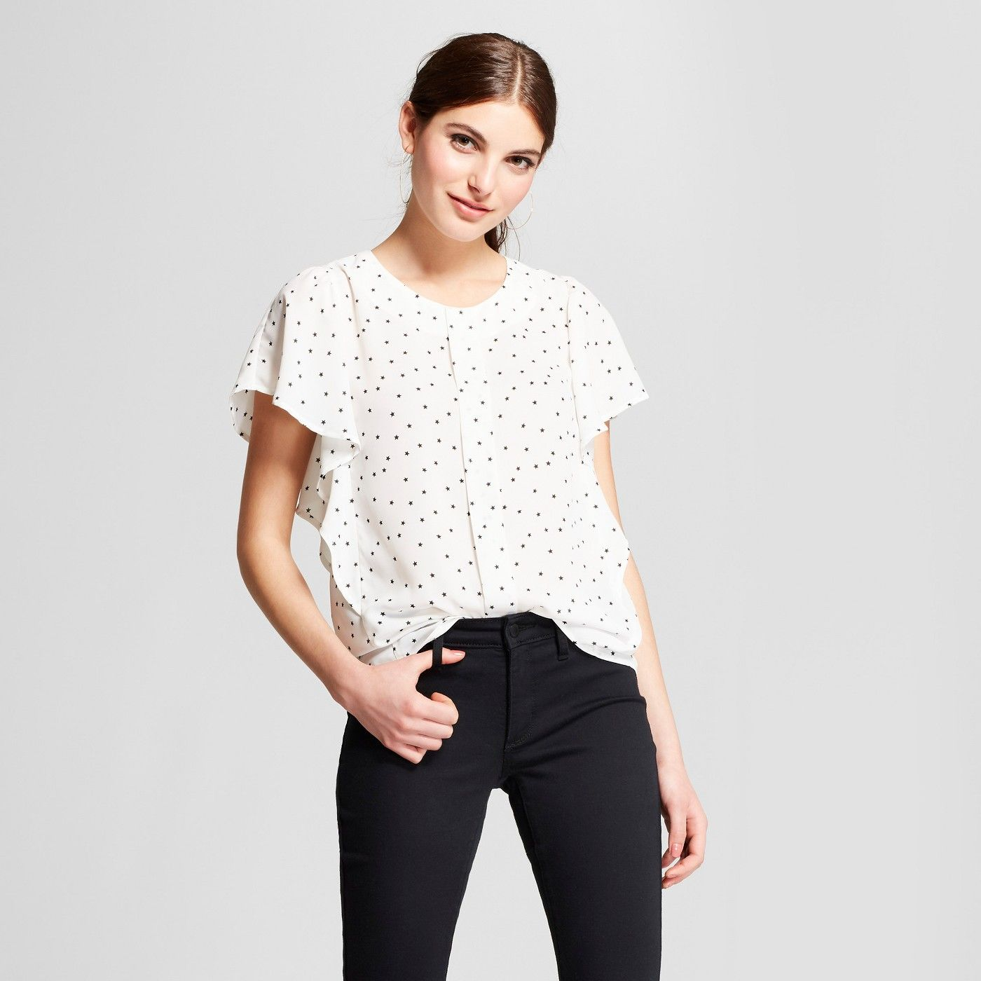 Women's Printed Short Flutter Sleeve Button Up Top
