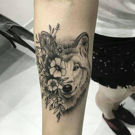 Lobo Y Flores Desenho De Tatuagem De Lobo Lobo Tatuagem E
