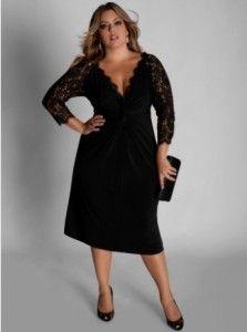 a5d5b7f43 Vestido de festa preto com renda para gordinhas | tamanho grande ...