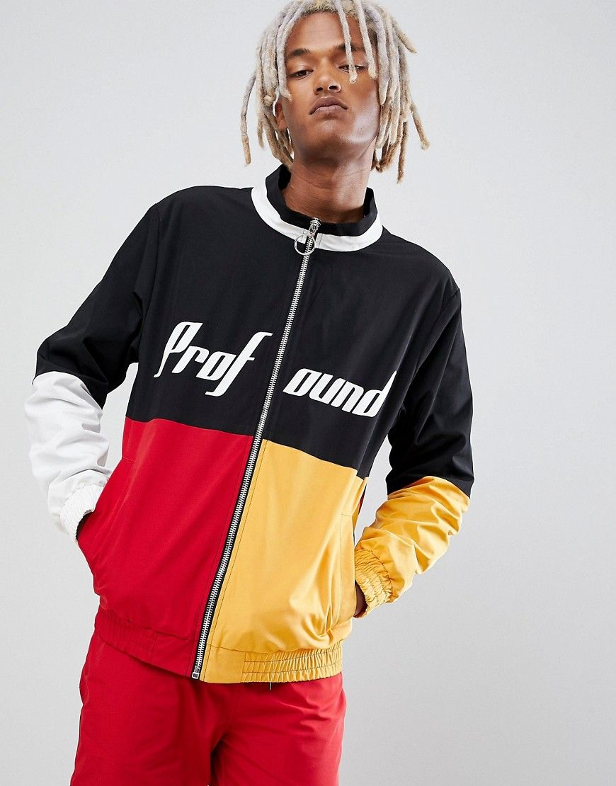 9af0f55dea8d5 PROFOUND AESTHETIC RACING WINDBREAKER TRACK JACKET IN MULTI - RED.   profoundaesthetic  cloth