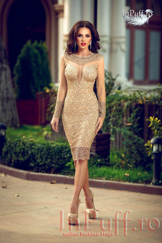 Rochie Preciouss Trei Sferturi Paiete Aurii Tul Nud Rochie Eleganta