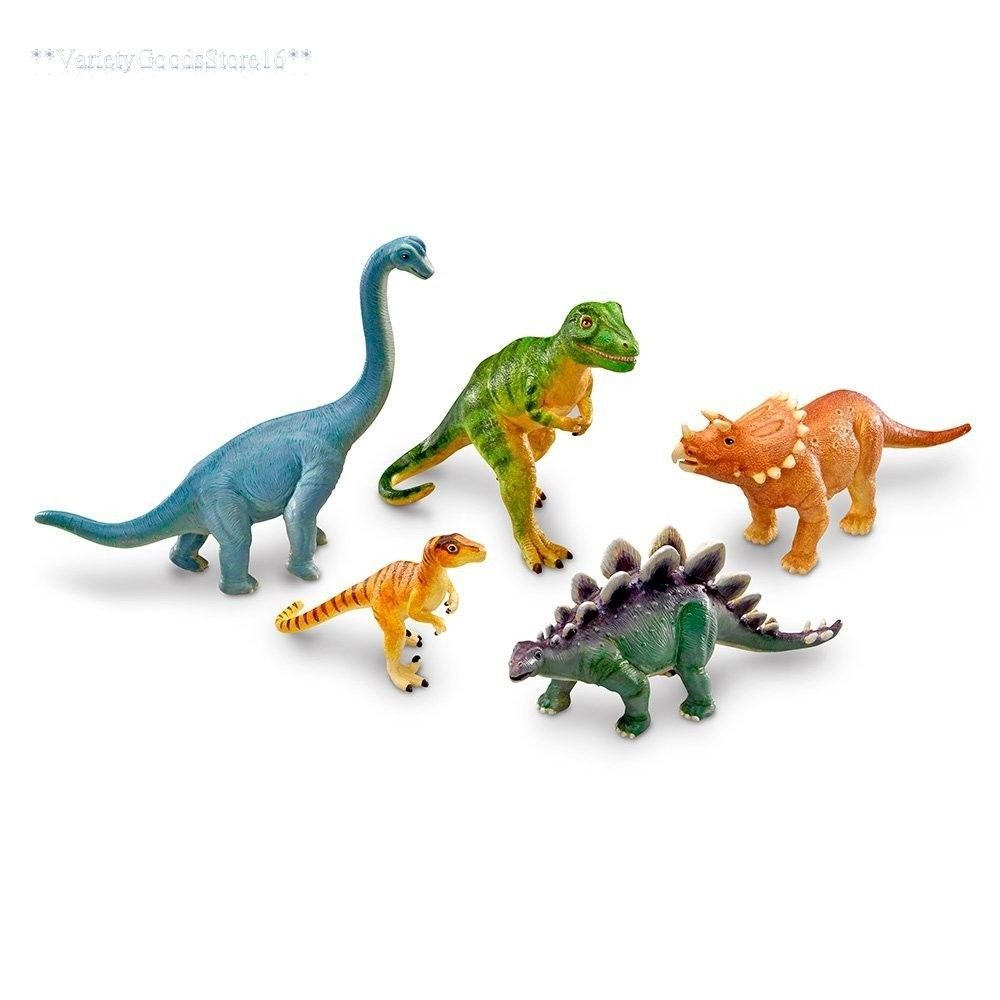 Action Figures Dinosaur Toy Play Set Jumbo Animal Kids Toddler Pretend Figures 5 Piece New