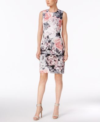 324507432bfd Calvin Klein Printed Scuba Sheath Dress | macys.com | Fashion in ...