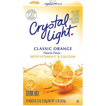 Crystal Light On The Go Sunrise Classic Orange Sugar Free Drink Mix 10ct Walmart Com Sugar Free Drinks Mixed Drinks Orange Drinks