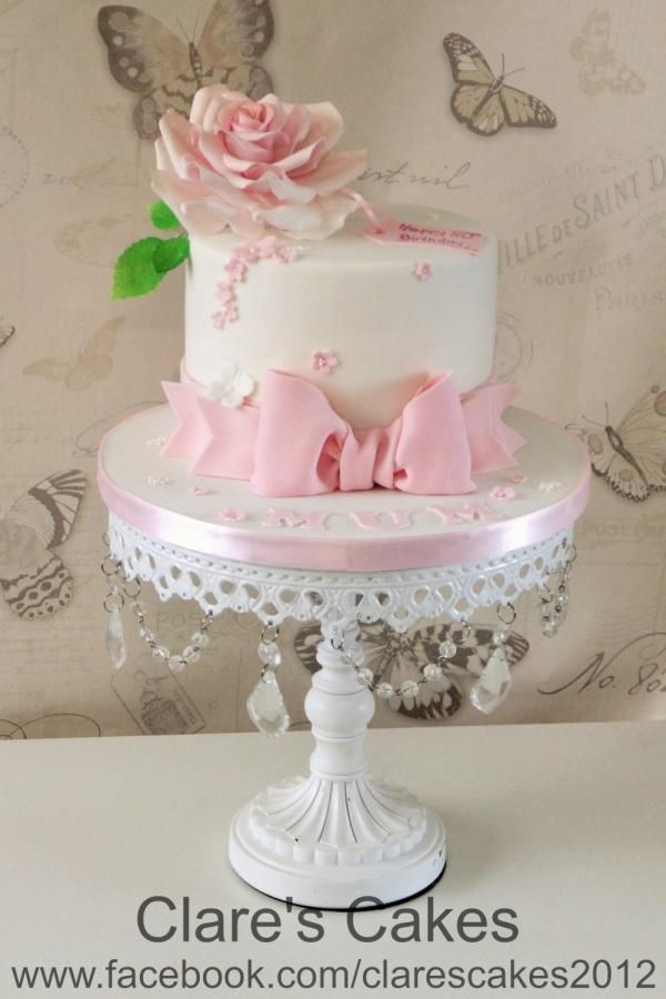 Pink And White 80th Birthday Cake Cakes In 2019 80