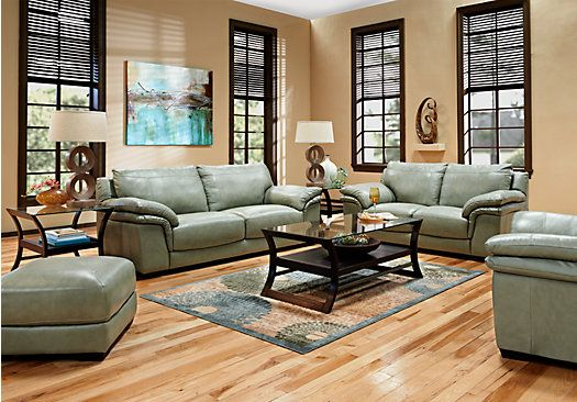 Shop For A Bella Lago Seafoam 7 Pc Leather Living Room At