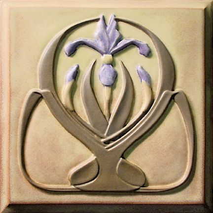 "Decorative Relief Tiles Interesting Handpainted Tile  ""iris Nouveau""  Azulejos  Pinterest Design Inspiration"