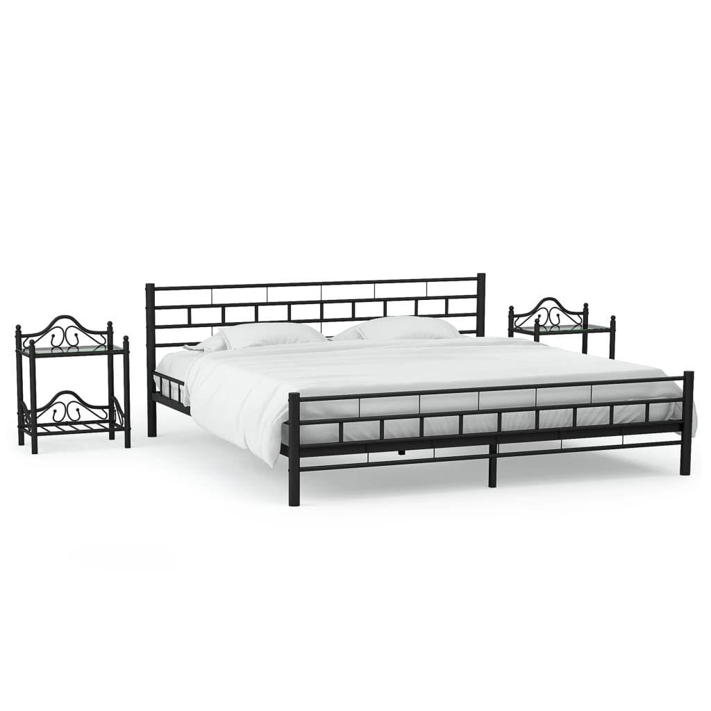 Bedframe Met Twee Nachtkastjes Metaal Zwart 140x200 Cm Bedframe Nachtkastjes Bedkader