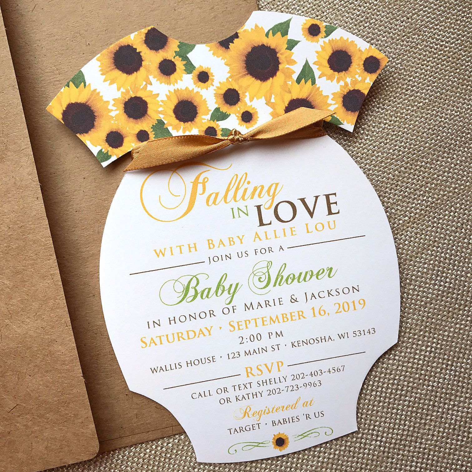 Sunflower Baby Shower Invitation, Onesie Invitation, Rustic Baby ...