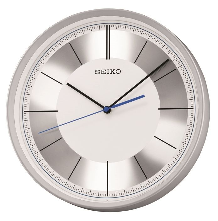 Fantastic futuristic wall clock from seiko clocks metallic for Silver wall clocks modern