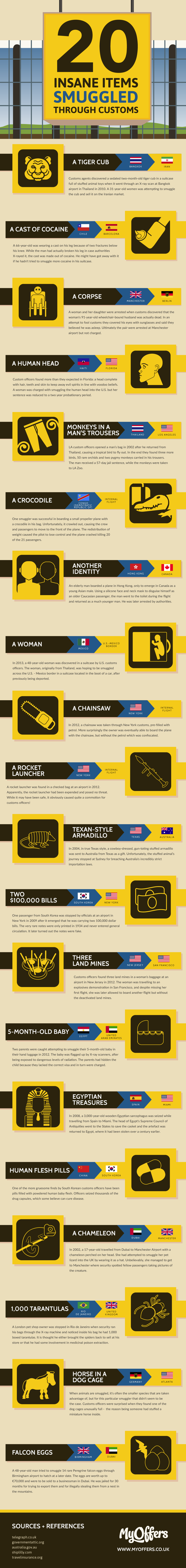 20 Insane Items Smuggled Through Customs #Infographic