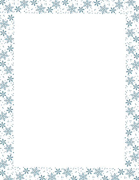 Blue snowflake border paper. Free downloads at http://pageborders ...