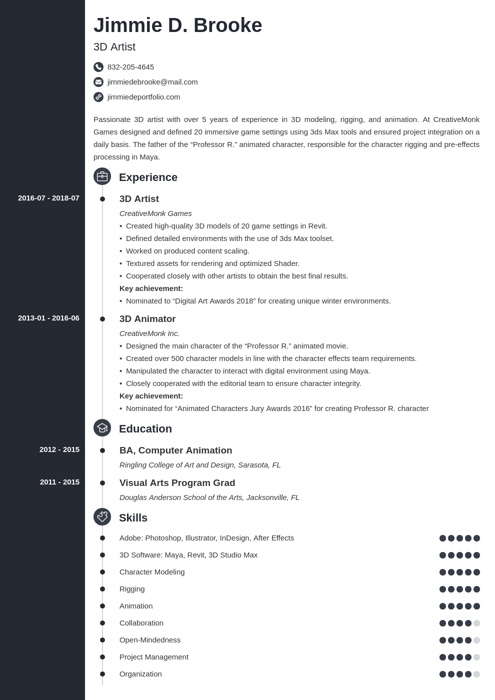 3d Artist Resume Example Template Concept Resume Examples Engineering Resume Resume Template