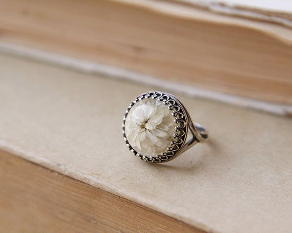 Real flower ring - handmade resin jewelry - rustic ring with Gypsophila paniculata flowers