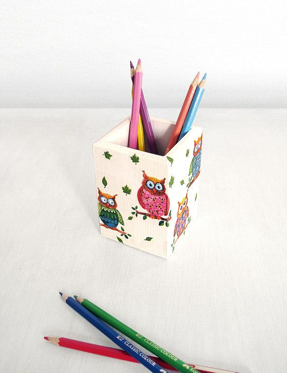 Funny Owls Pencil Cup. Childrens Cute Pen Holder. Wooden Pen Cup For  Teacher. Owl Kids Office Decor. Owl Lover Christmas Gift. Ready To Ship