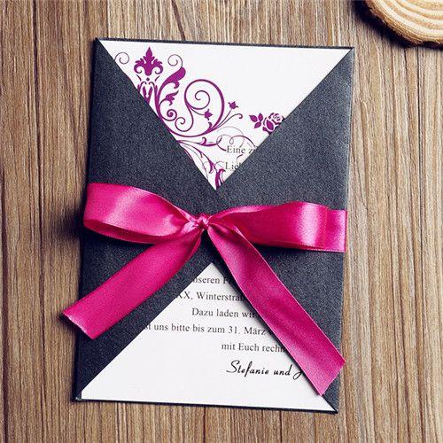 romantisch schleife einsteckkarte einladungen hochzeit opl022 neue, Einladung
