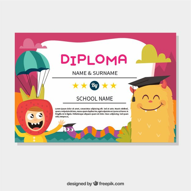 colorful graduation certificate with smiling monster and funny boy - graduation certificate