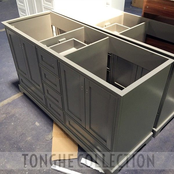 60'' freestanding bathroom vanity solid wood construction grey finish carrara white marble tops four door six drawers. www.tonghecollection.com #tonghecollection #bathroomvanity #vanityunit #vanitymirror #bathroomfurniture #bathroomproject #builder #bathroom #bathroomremodel #homedecor #bathroomdecor #italianbathrooms #toto #designelements #hotelbathrooms #deluxevanity #mtd #stufurhome #vinnova #wyndham