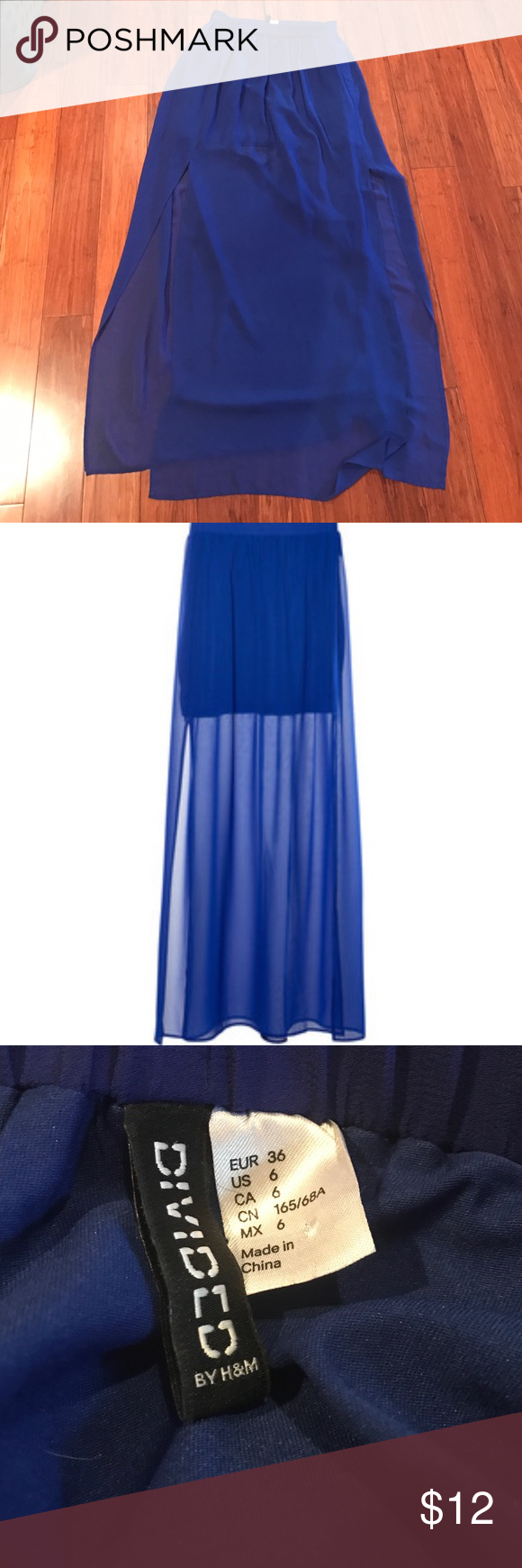 dfe1fe672b79 H&M Blue Chiffon Maxi Skirt Skirt is sheer and has liner. There is a split  on each size. In great condition! H&M Skirts Maxi