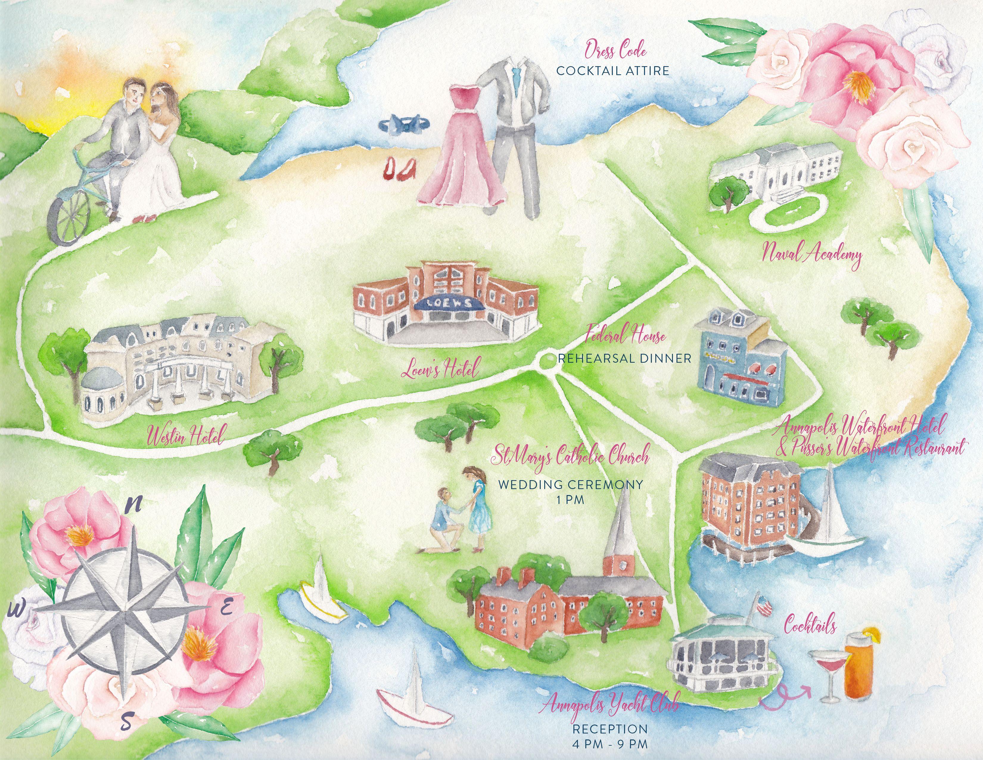 Wedding Maps Custom Map Watercolor Wedding Map