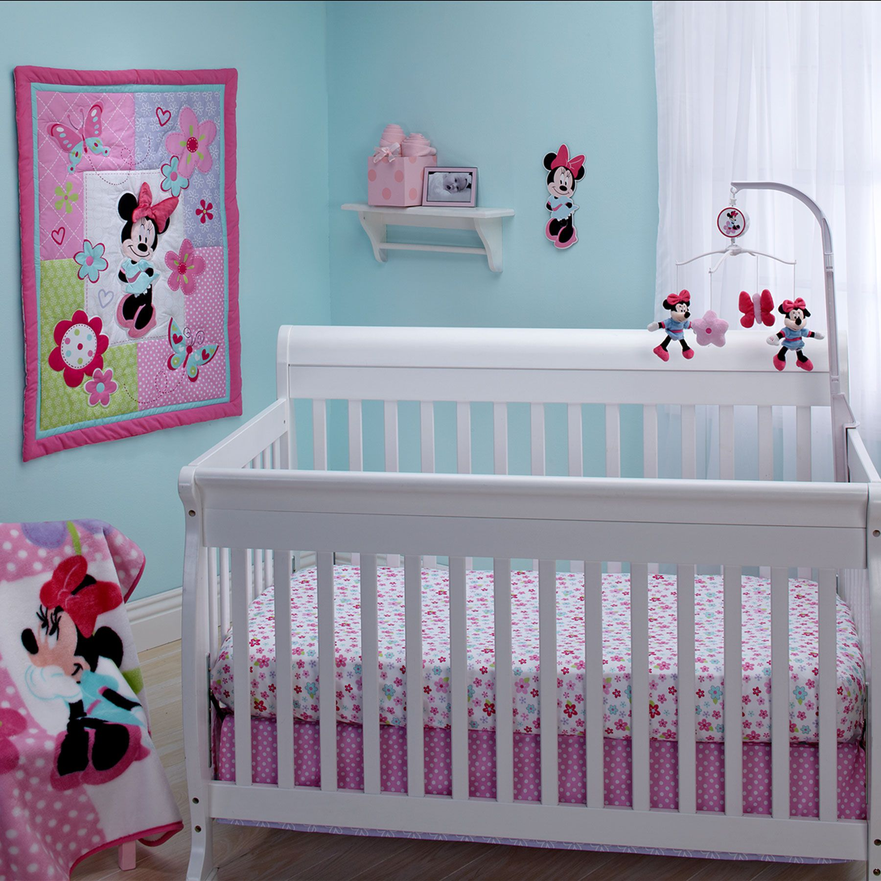 Minnie Mouse, whimsical flowers and butterflies in cheerful shades ...