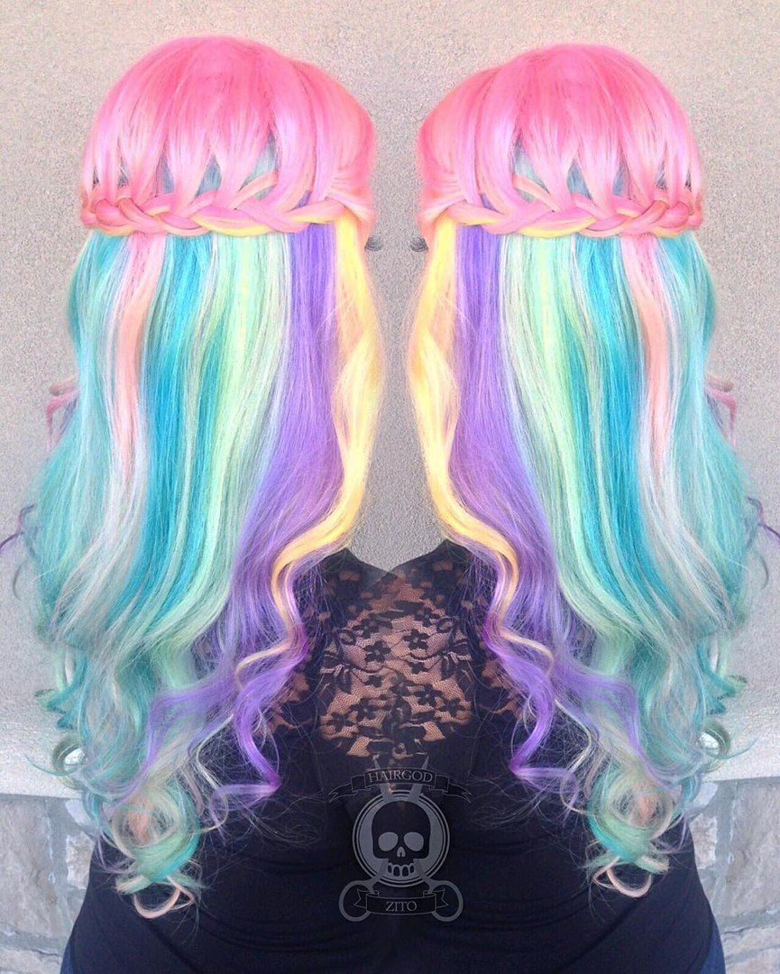 cotton candy hairstyles that are as sweet as can be half updo