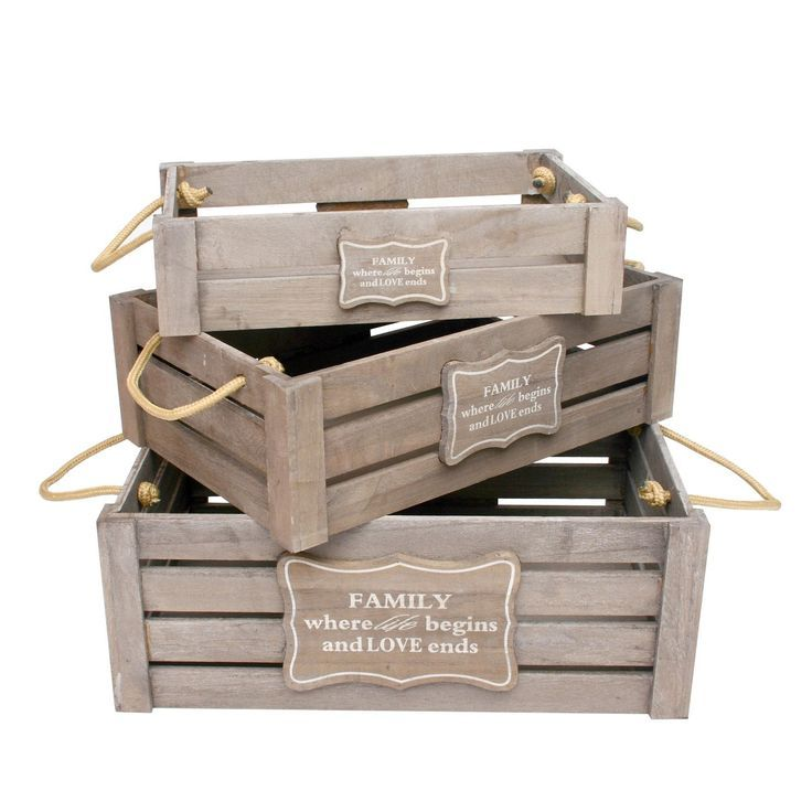 3 cajas de madera set family manualidades trini - Manualidades cajas de madera ...